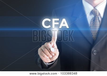 A Businessman holding a white sign with the message CFA currency.