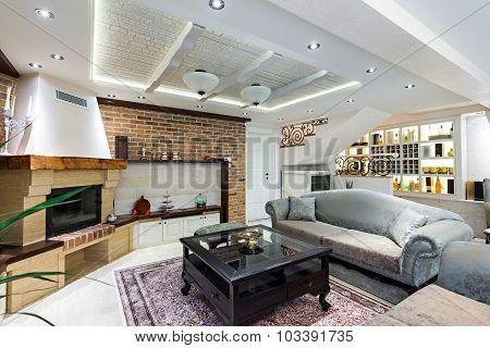 Specious Living Room Interior In Luxury Apartment