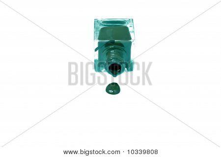 Turquoise Nail Polish Bottle With Splatters Isolated On White Background