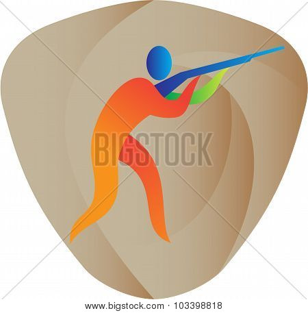 Illustration of an athlete with shotgun playing trap shooting viewed from the side set inside shield crest done in retro style. poster