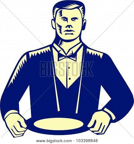 Waiter Cravat Serving Plate Woodcut