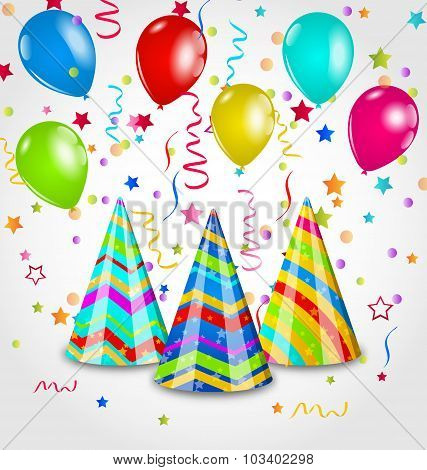 Holiday background with party hats, colorful balloons, confetti