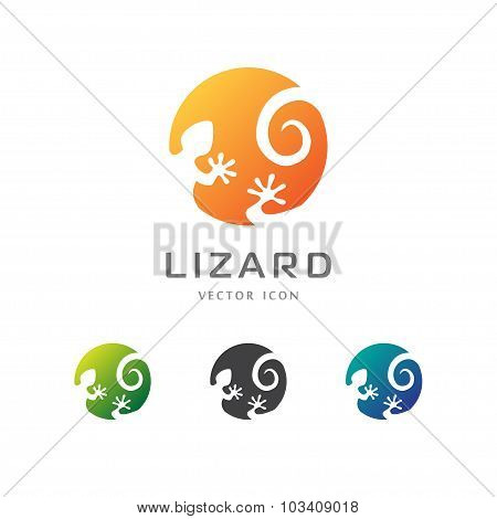 Circle Lizard Icon. Logo Design.