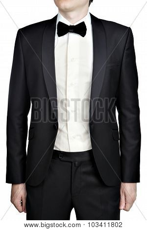 Dark Gray Mens Evening Dress, Blazer, White Shirt, Bow Tie.