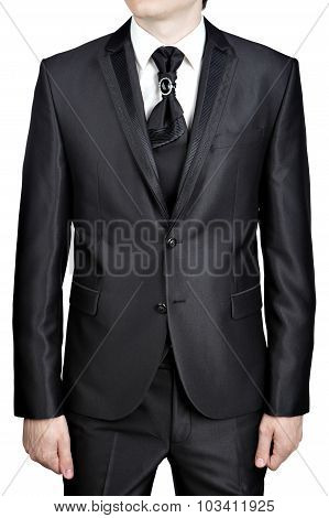 Mens Evening Black Suit, Tie Knot Decorated Big Pin Brooch.