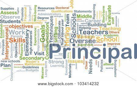 Background concept wordcloud illustration of principal
