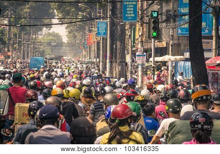 Ho Chi Minh City, Vietnam - February 2, 2013: Traffic Jam With A Congestion Of Scooters And People