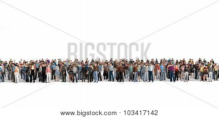 Crowd. Large Crowd Of People Stay On A Line On The White Background.