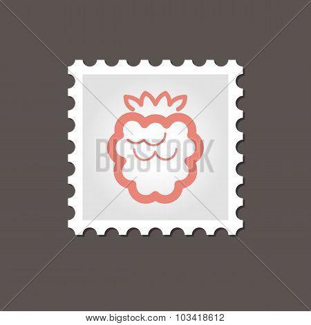 Raspberry stamp. Outline vector illustration