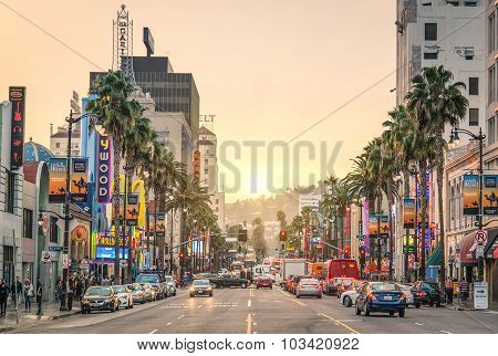 Los Angeles - December 18, 2013: Walk of Fame on Hollywood Boulevard At Sunset