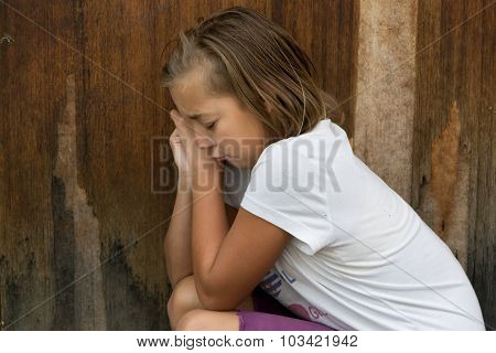 Bullied Girl Child Cry In Front Of Door Alone