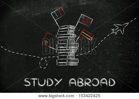 Study Abroad: Books, Flags And Airplane