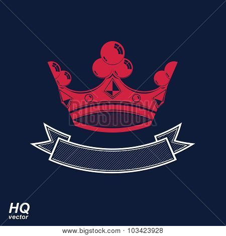 Vector imperial crown with undulate ribbon. Classic coronet with decorative curvy band. King regalia design element. poster