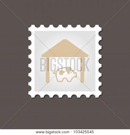 Pigsty stamp. Outline vector illustration