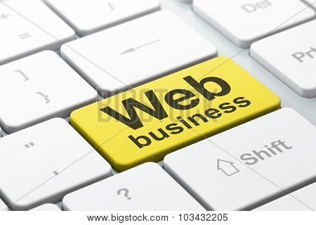SEO web development concept: Web Business on computer keyboard background