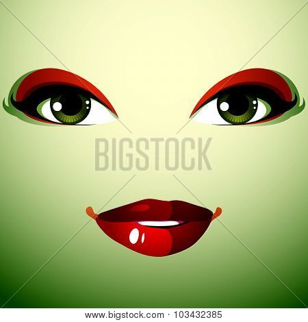 Attractive woman with stylish bright make-up. Sexy Caucasian distrustful lady. Human eyes and lips