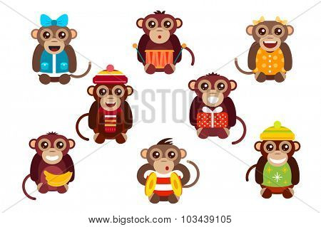 Happy cartoon vector christmas monkey toys dancing party birthday background. Monkey party birthday dance. Merry christmas monkey toys, monkey vector, banana, jump, smile, monkey play. Vector monkey