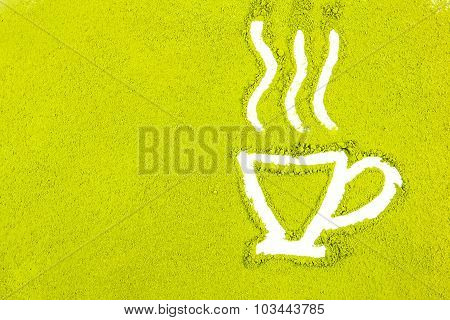 Green Powder Forming Tea Cup Shape Surface Close Up