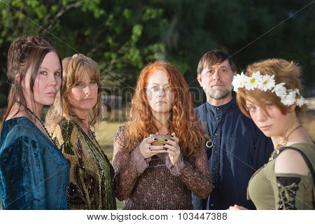 Wicca People With Incense Bowl