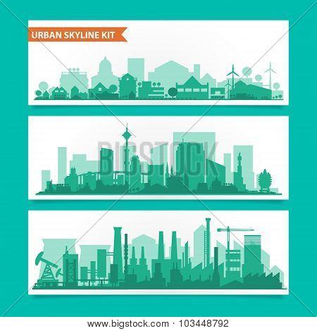 City skyline kit with factories, refineries, power plants etc.