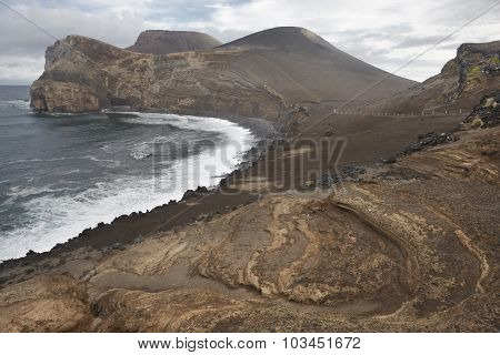Azores volcanic coastline landscape in Faial island. Ponta dos Capelinhos. Horizontal poster