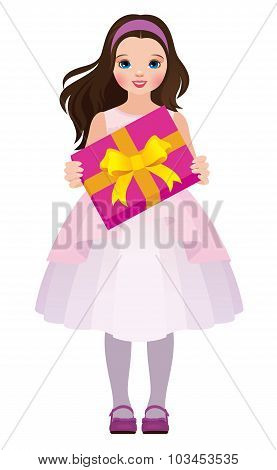 Little Girl Holding A Box With A Gift
