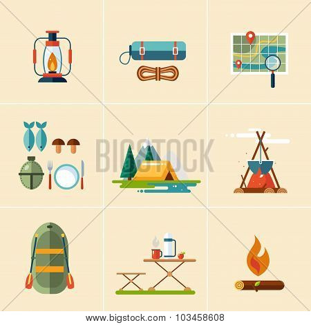 Camping and Hiking Icons. Flat Design.