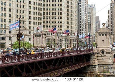 CHICAGO, USA - CIRCA MAY 2015: The famous Michigan Avenue in Chicago, Illinois, USA