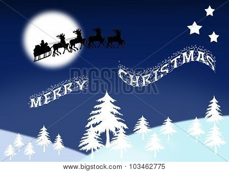 Wintry Scene With Santa And Merry Christmas Banner