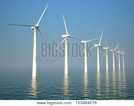 3d wind turbines producing energy in the sea poster