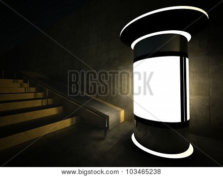 3D Blank Advertising Column And Empty Glass Showcase