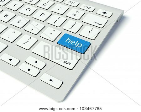 Keyboard And Blue Help Button, Internet Concept