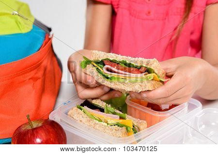 Close up on pair of young girl's hands removing a healthy wholesome wholemeal bread ham sandwich from her lunch box during break time recess