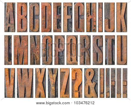 Antique Letterpress Wood Type Printing Blocks - Alphabet