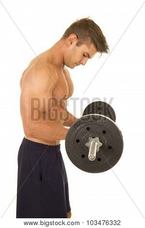 Shirtless Strong Man Side Curl Barbell Look Down