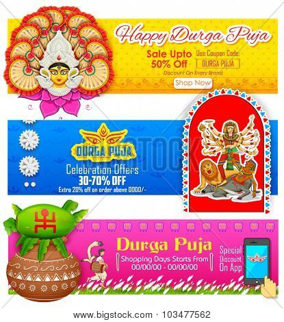 illustration of colorful banners for Happy Durga Pujai Offer promotions poster