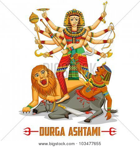 illustration of Happy Durga Puja background with message for eigth day of celebration