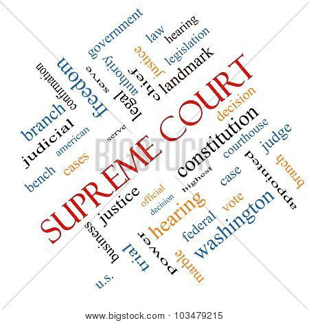 Supreme Court Word Cloud Concept Angled