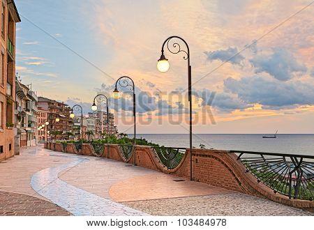 seafront at dawn in Ortona, Abruzzo, Italy
