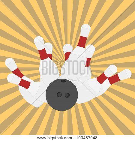 Bowling ball and pins - vector