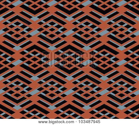 Bright Abstract Seamless Pattern With Interweave Lines. Vector Psychedelic Wallpaper With Stripes. E