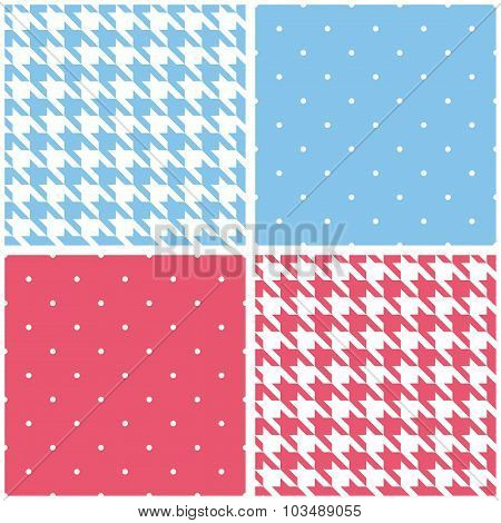 Blue, white and pink tile vector background set
