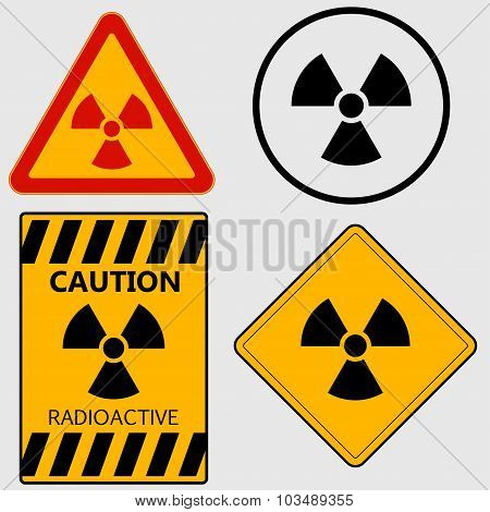 Radioactivity sign set - vector