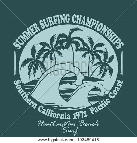 Surfers wear typography emblem Huntington Beach- vector illustra