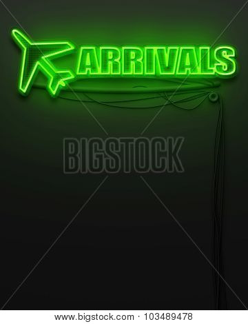 Neon glowing sign with word Arrivals and copyspace poster