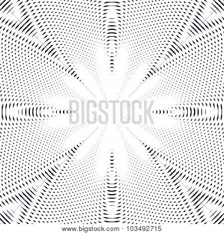 Black and white moire lines striped psychedelic background. Op art style vector contrast pattern. poster