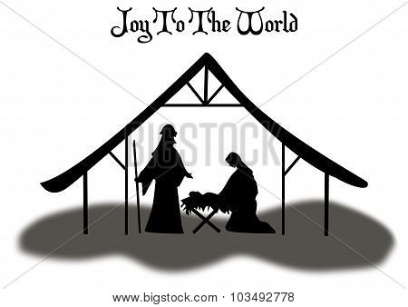 Christmas Manger Scene Silhouette With Text Banner