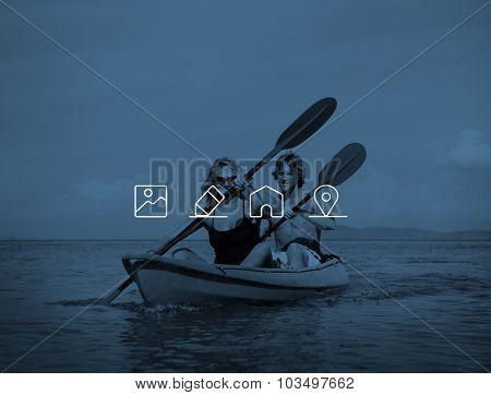 Kayaking Adventure Happiness Recreational Pursuit Couple Concept poster