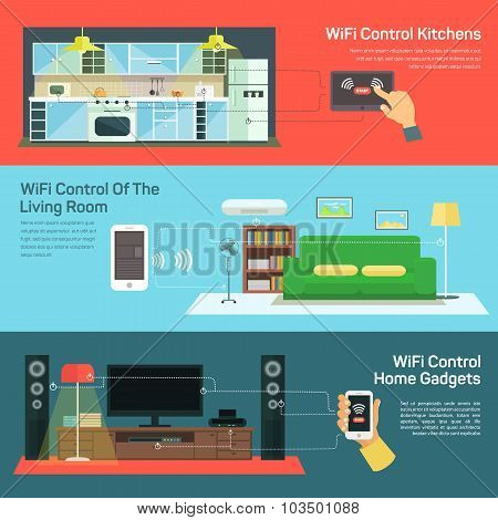 Technology wireless control on kitchen, light room