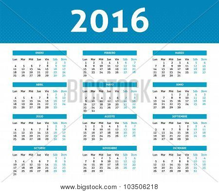 2016 Year Calendar In Spanis In Light Blue Color In Halftone Style